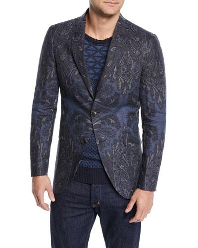 Men's Paisley-Print Sport Coat Jacket