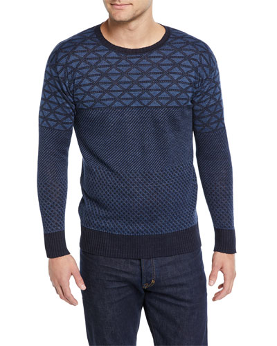 Men's Geometric-Knit Linen Sweater