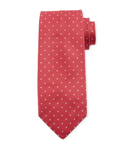 Dot-Pattern Silk Tie  Red