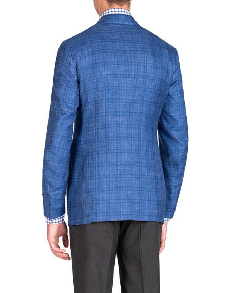 Men's Linen-Effect Plaid Two-Button Jacket