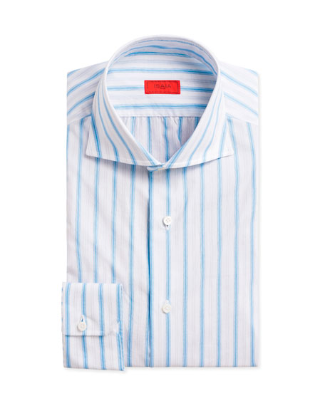 Multi-Stripe Cotton Dress Shirt, White/Blue