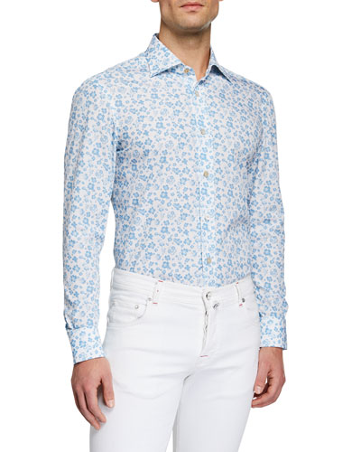 Men's Flower Print Sport Shirt