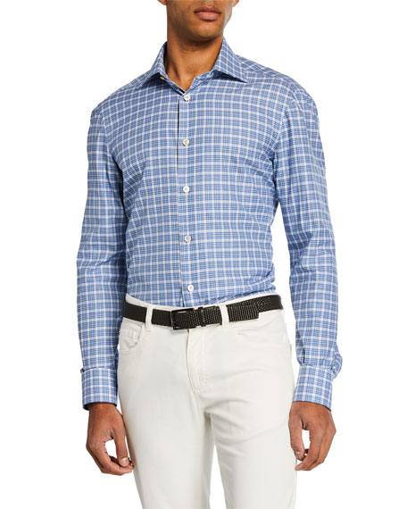 Kiton Men's Check Dress Shirt