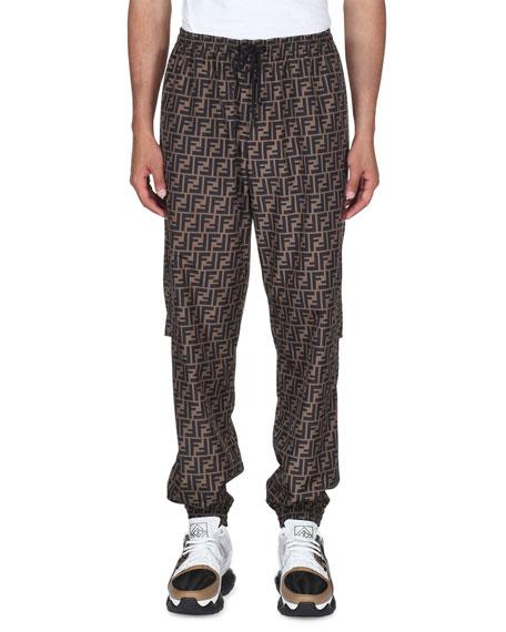 Fendi Men's Logo-Grid Wind-Resistant Pants