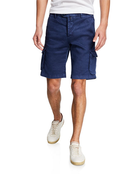 Kiton Shorts MEN'S LINEN/COTTON CARGO SHORTS