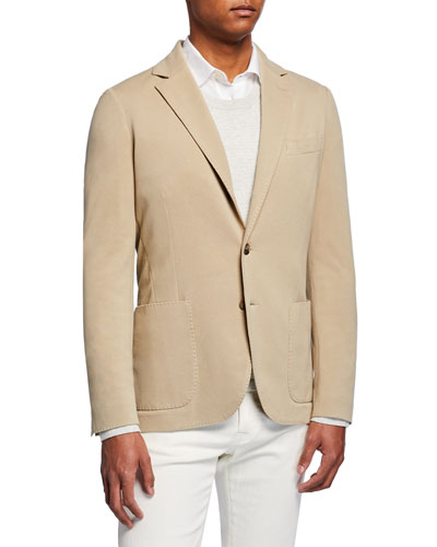 Men's Basic Knit Three-Button Jacket  Tan