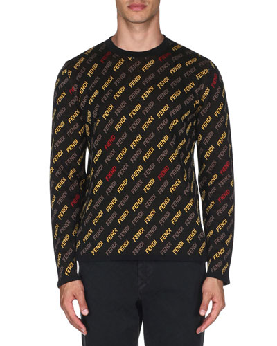 Men's Allover Logo Print Sweater