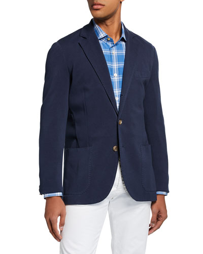 Men's Basic Knit Three-Button Jacket  Navy