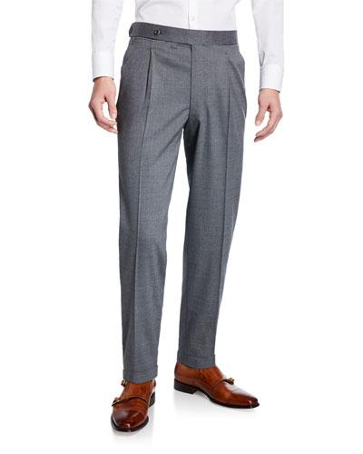 Men's Single-Pleat Wool Trouser Pants