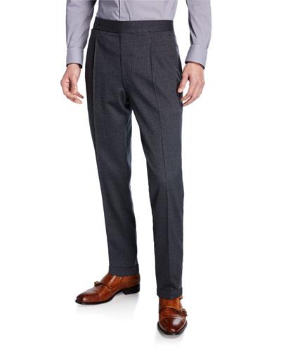 Men's Single-Pleat Stretch-Wool Pants
