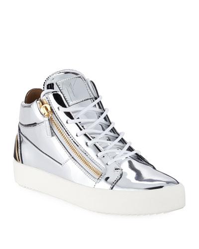 Men's Metallic Leather Mid-Top Sneakers