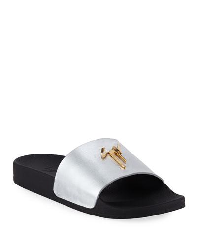 Men's Logo Leather Slide Sandals