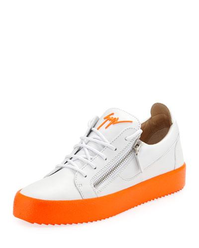 Men s Neon-Sole Double-Zip Low-Top Sneakers 4acd9c1f22