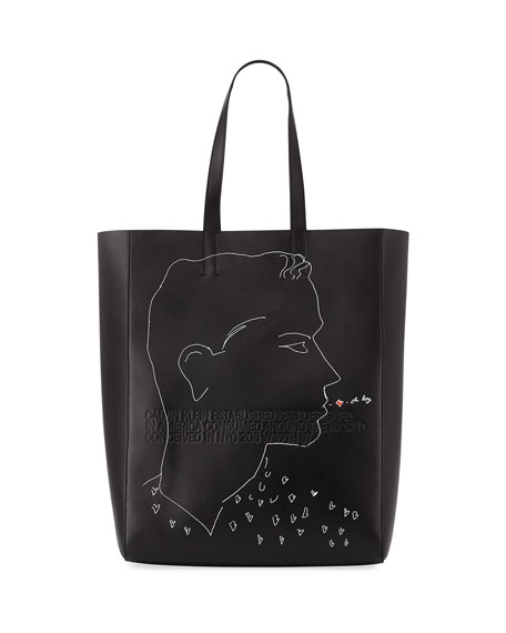 Men's x Andy Warhol Blotted Lines Leather Tote Bag