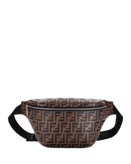 Men's Embossed Leather Belt Bag/Fanny Pack