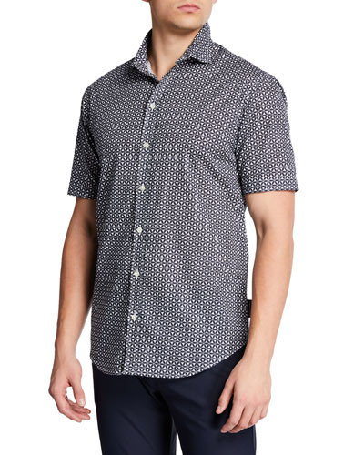Men's Short-Sleeve Geometric Sport Shirt