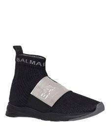 Men's Cameron Knit Logo Strap Running Sock Sneakers by Balmain
