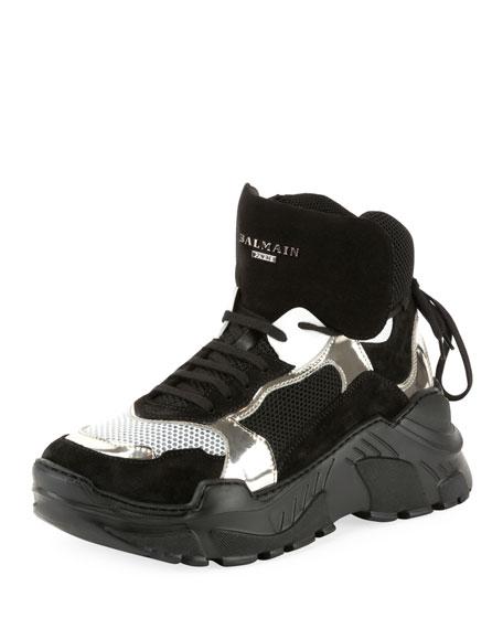 Balmain Men's Joan High-Top Tech Sneakers