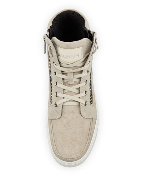 Men's Suede High-Top Zipper Sneakers