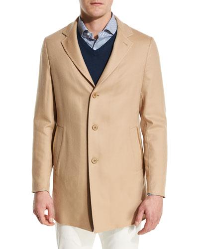 Short Cashmere Three-Button Coat
