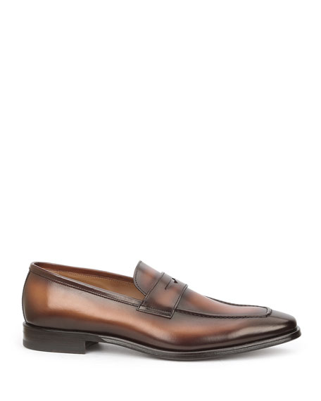 Men's Corrado Burnished Leather Penny Loafers