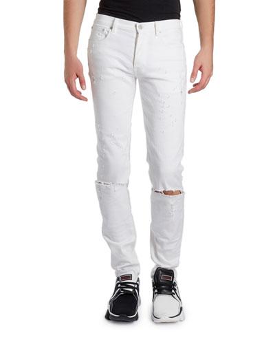 Men's Distressed Skinny Stretch Denim Jeans