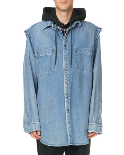 Men's Denim Twinset Overshirt with Flannel Lining