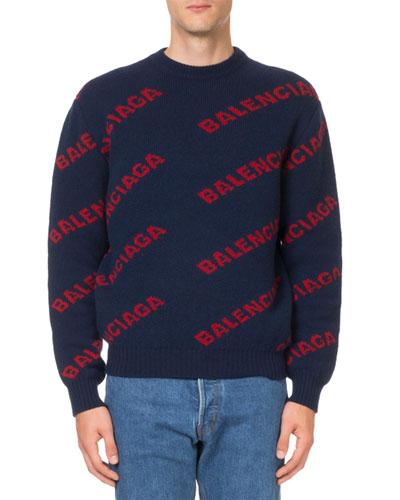 Men's Intarsia Logo Wool Sweater