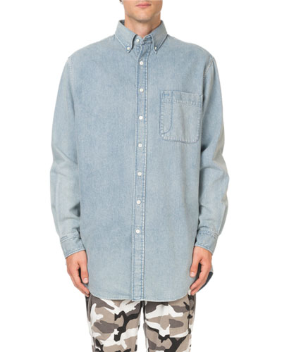 Men's Washed Denim Oversized Shirt with Logo