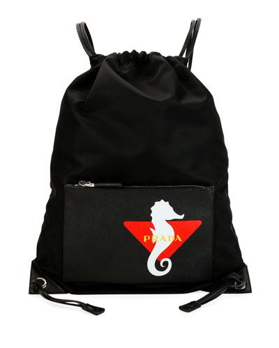 Men's Seahorse Nylon Rucksack Backpack