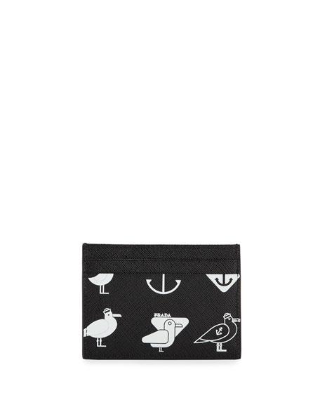 Men's Seagull-Graphic Saffiano Card Case