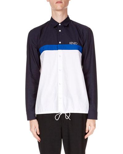 Men's Drawstring Casual Fit Sport Shirt
