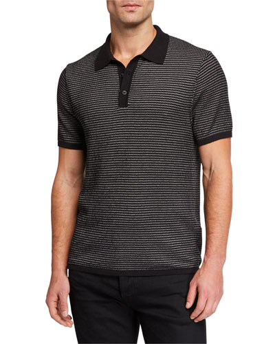 Men's Finn Striped-Knit Polo Shirt