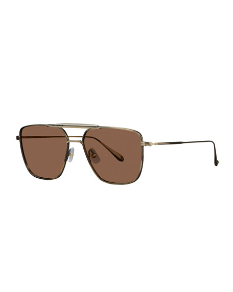 Garrett Leight Men's Convoy 56 Square Aviator Sunglasses
