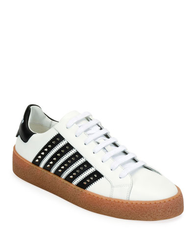 Men's Studded Side-Stripe Leather low-Top Sneakers