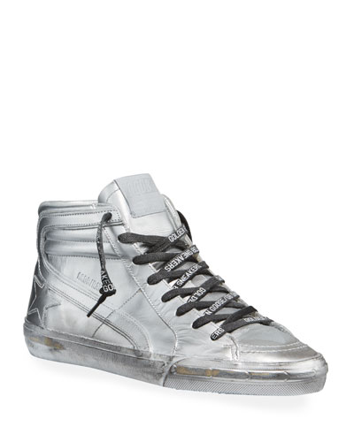 Men's Slide Metallic Leather High-Top Sneakers