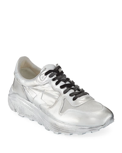 Men's Metallic Leather Running Sneakers