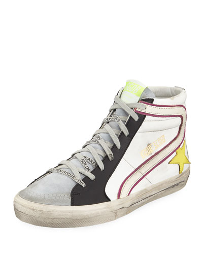 Men's Slide Colorblock Leather High-Top Sneakers