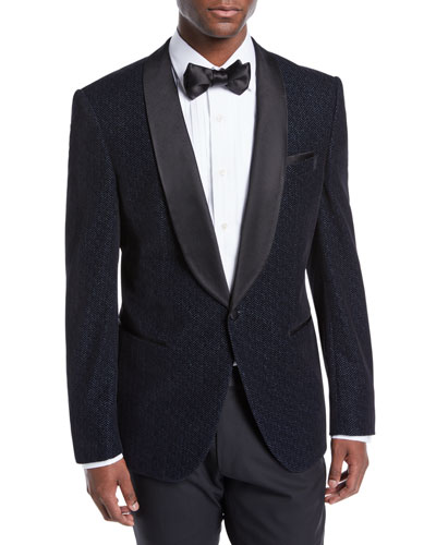 Men's Herringbone Shawl-Collar Tuxedo Jacket