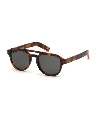 Men's Havana Rectangular Acetate Sunglasses