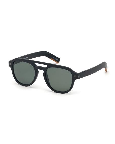 Men's Rectangular Acetate Pilot Sunglasses - Polarized