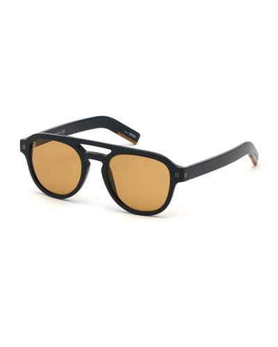 Men's Rectangular Acetate Pilot Sunglasses