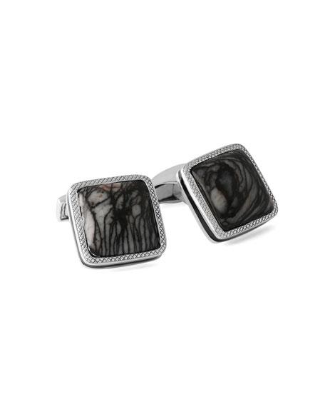 Marble Quartzite Silver Cufflinks