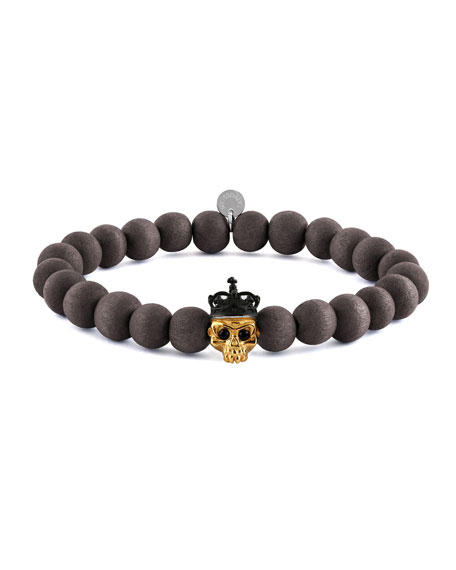 Men's Natural Bead & Skull Bracelet, Size M