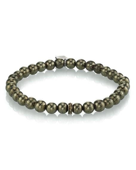 Men's Pyrite Beaded Bracelet, 6mm