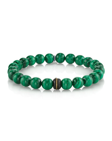 Mr. Lowe Men's Malachite Bead Bracelet with Diamond