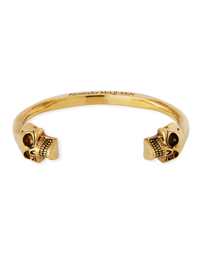 Men's Large Twin-Skull Coated Brass Bracelet