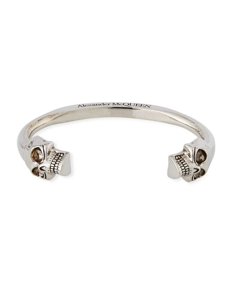 Alexander McQueen Men's Large Twin-Skull Coated Brass Bracelet,