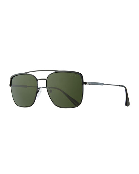 Prada Men's Square Metal Aviator Sunglasses