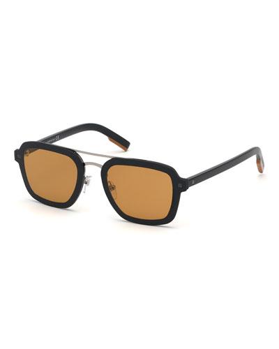 Men's Shiny Acetate Double-Bridge Sunglasses